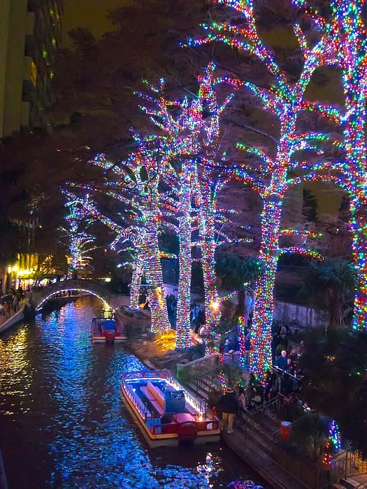 Holiday Lights along the San Antonio River Walk.